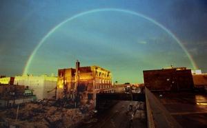 A rainbow over Grand Forks, North Dakota in 1997.